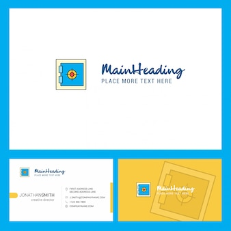 Schließfach-logo mit tagline u. vorderer und hinterer busienss karten-schablone.