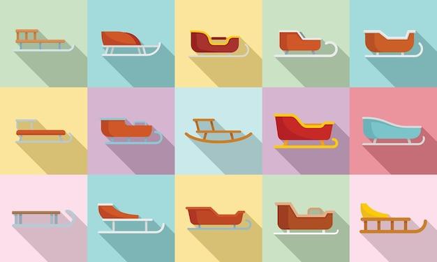 Schlittenikonen stellten flachen vektor ein. schlitten des weihnachtsmannes. weihnachtstransport