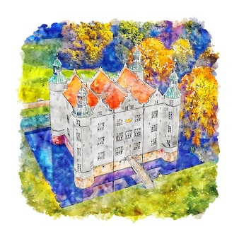Schloss ahrensburg deutschland aquarell skizze hand gezeichnete illustration