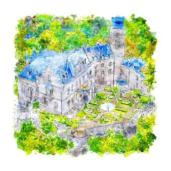 Schloss deutschland aquarell skizze hand gezeichnet