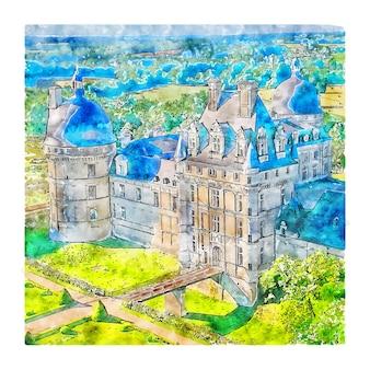 Schloss frankreich aquarellskizze handgezeichnete illustration