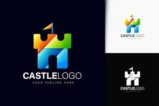 Schloss-logo-design mit farbverlauf