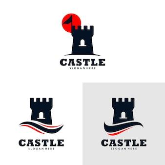 Schloss-logo-design-vorlage. vektor-illustration