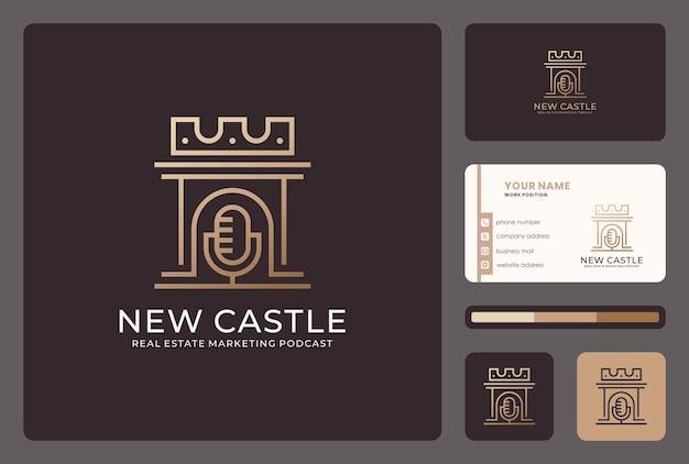 Schloss, mikrofon, podcast-logo-design mit visitenkartenvorlage.
