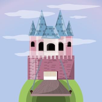 Schloss mit brücke des palastes mittelalterliches und märchenthema