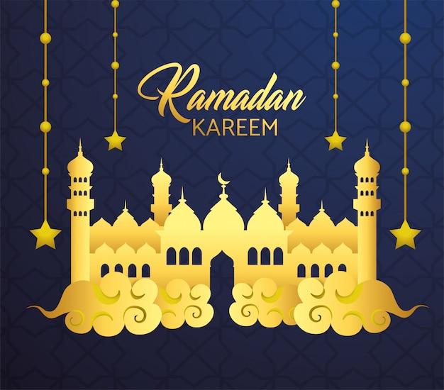 Schloss mit den sternen, die zu ramadan kareem hängen