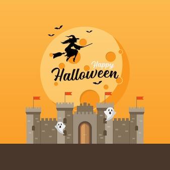 Schloss mit hexe, die über den mond fliegt. halloween-grußkarte. illustration