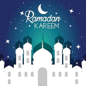 Schloss mit mond und sternen zu ramadan kareem
