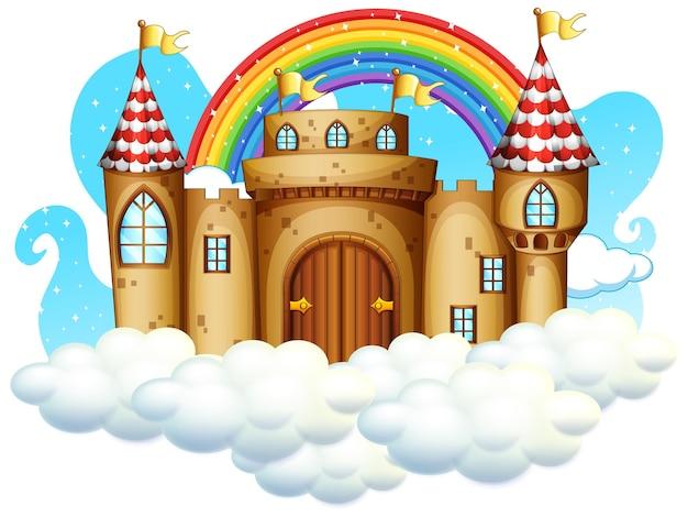 Schloss mit regenbogen auf der wolke isoliert auf weißem hintergrund