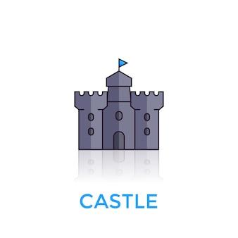 Schloss, mittelalterliche festungsikone auf weiß