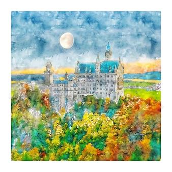 Schloss neuschwanstein deutschland aquarell skizze hand gezeichnete illustration
