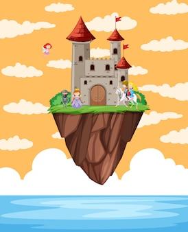Schloss schwimmt auf der insel szene