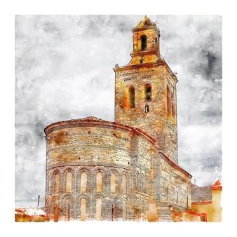 Schloss spanien aquarell skizze hand gezeichnete illustration
