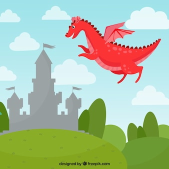 Schloss und fliegender drache mit schönem stil