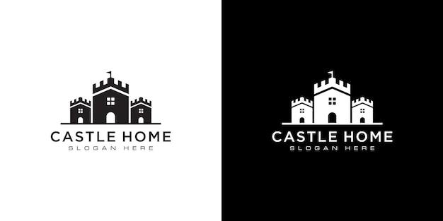 Schloss- und hauslogo-vektordesign