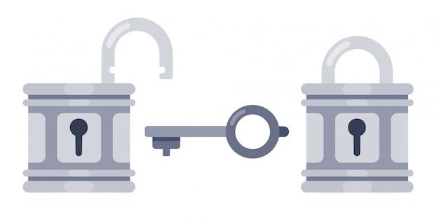 Schloss und schlüssel. offene und verriegelte schlösser, flache abbildung des sicherheitsvorhängeschloss-schlüssellochs