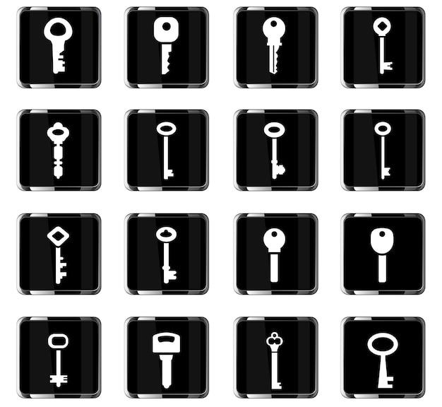 Schloss- und schlüsselvektorsymbole für das design der benutzeroberfläche