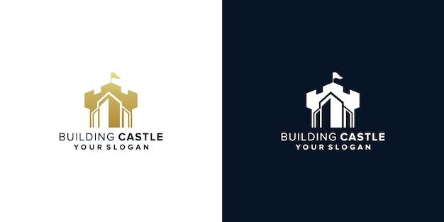 Schlossgebäude logo-design Premium Vektoren