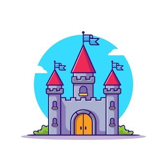 Schlosspalast-karikatur-ikonen-illustration.
