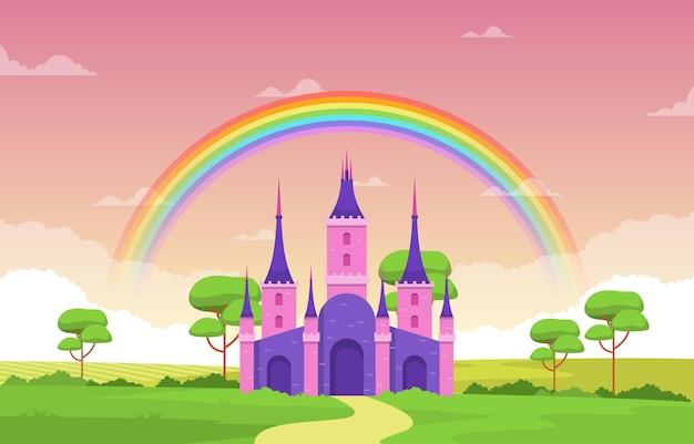 Schlosspalast-regenbogen in der märchenland-märchen-landschaftsillustration