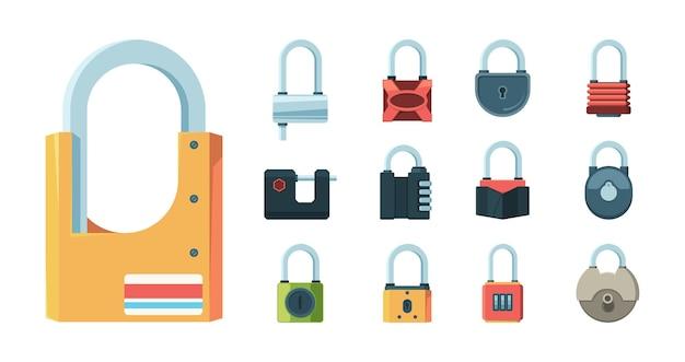 Schlossset. vorhängeschloss schlüssel gefängnis geheimcode tür symbole