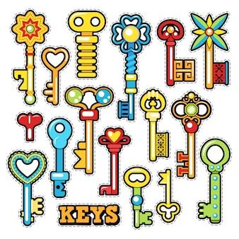 Schlüssel dekorative elemente für sammelalbum, aufkleber, aufnäher, abzeichen. gekritzel