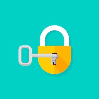 Schlüssel in der flachen karikatur des geschlossenen vorhängeschlosses der schlüssellochöffnung