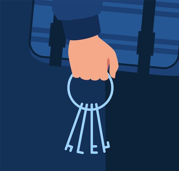 Schlüssel in unbekannter mannhand-halb-rgb-farbillustration. nacht hausbrecher invasion. gestohlene schlüsselbündel. halten des hausschlüssel-karikaturobjekts auf dunkelblauem hintergrund