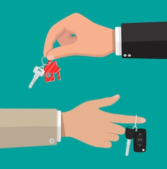 Schlüssel mit schlüsselbundhaus und autoschlüssel mit alarm