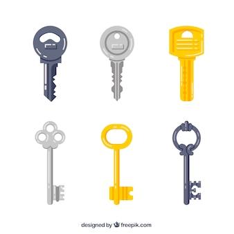Schlüssel-sammlung im flachen stil