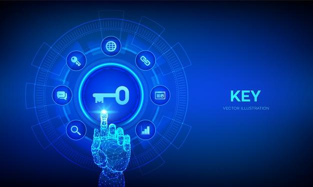 Schlüssel. stichwort. schlüssel zum erfolg oder zum konzept der lösungstechnologie auf dem virtuellen bildschirm. roboterhand, die digitale schnittstelle berührt.