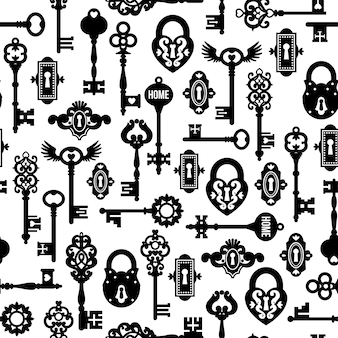 Schlüssel und schlösser seamless pattern