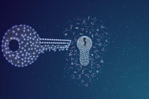 Schlüssel und schlüsselloch am nachthimmel in form von drahtgittern.