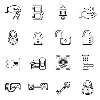 Schlüssel- und verriegelungsikone eingestellt mit weißem hintergrund.