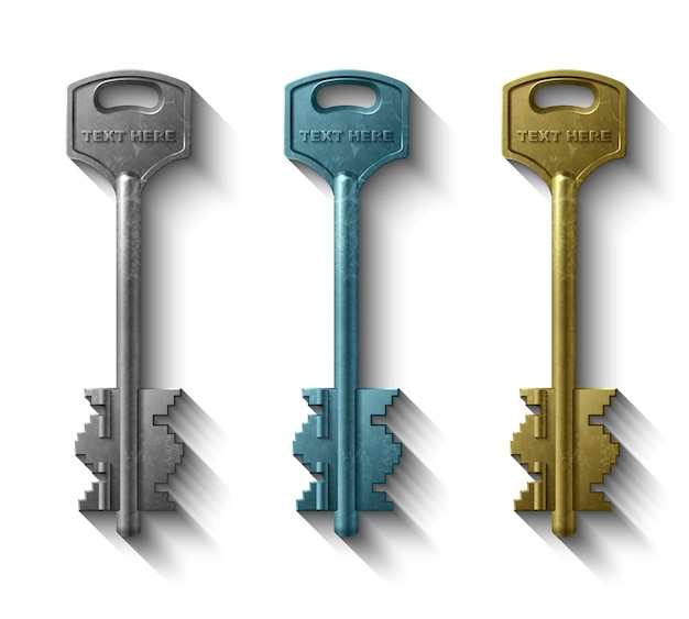 Schlüssel zum türschloss, realistisches objekt
