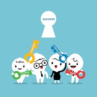 Schlüssel zur erfolgsgeschäftskonzept-karikaturillustration