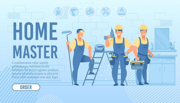Schlüsselfertige landing page für die reparatur von wohnungen und häusern