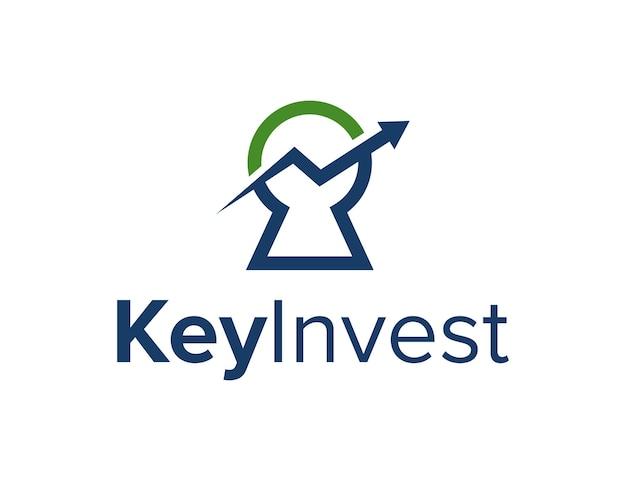 Schlüsselloch mit pfeil nach oben einfaches schlankes kreatives geometrisches modernes logo-design