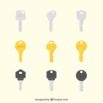 Schlüsselsammlung von neun