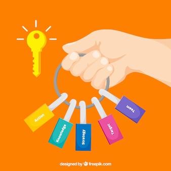 Schlüsselgeschäftskonzept mit flachem Design