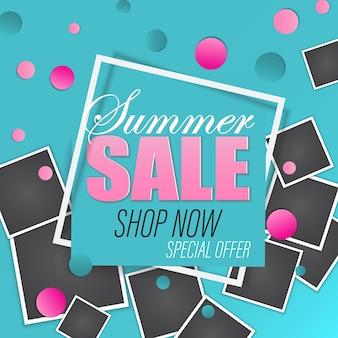 Schlussverkauf. papierschnitt-design. vektor-illustration. sommerschlussverkaufsfahne mit fotorahmen, nachgemachtes polaroidfoto.