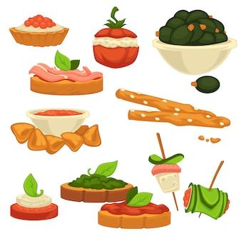 Schmackhafter nahrhafter snack mit gemüse und saucen