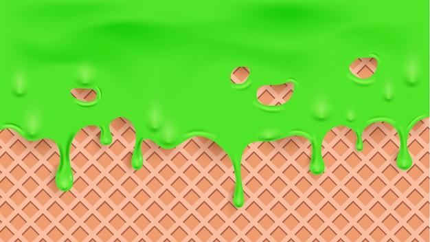Schmelzen grüne flüssigkeit auf waffelstruktur