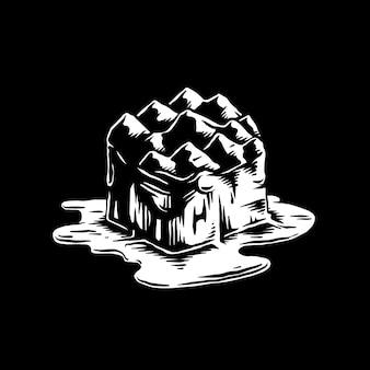 Schmelzender eisberg von der effektillustration der globalen erwärmung