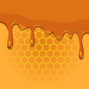 Schmelzender honig auf wabenstruktur
