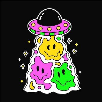 Schmelzendes gesicht für t-shirt-druckkunst. vektorlinie gekritzelkarikatur-grafikillustrations-logodesign. ufo, alien, fliegende untertasse. schmelzender lächelndruck für plakat, t-shirt-konzept
