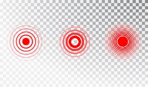 Schmerz roter kreis oder lokalisierungsmarkierung