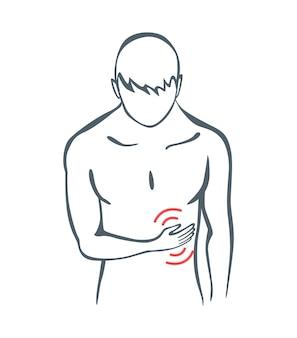 Schmerzen im körperteil. der mensch fühlt schmerzen im unterleib des körpers, die mit roten linien markiert sind. vektorherde von schmerz- oder traumasymbolen, graue kunstlinienillustration