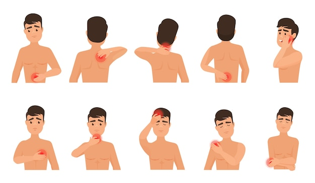 Schmerzen im menschlichen körper. mann fühlt schmerz infografik gesetzt.