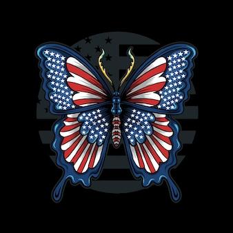 Schmetterling in den farben der flagge der vereinigten staaten